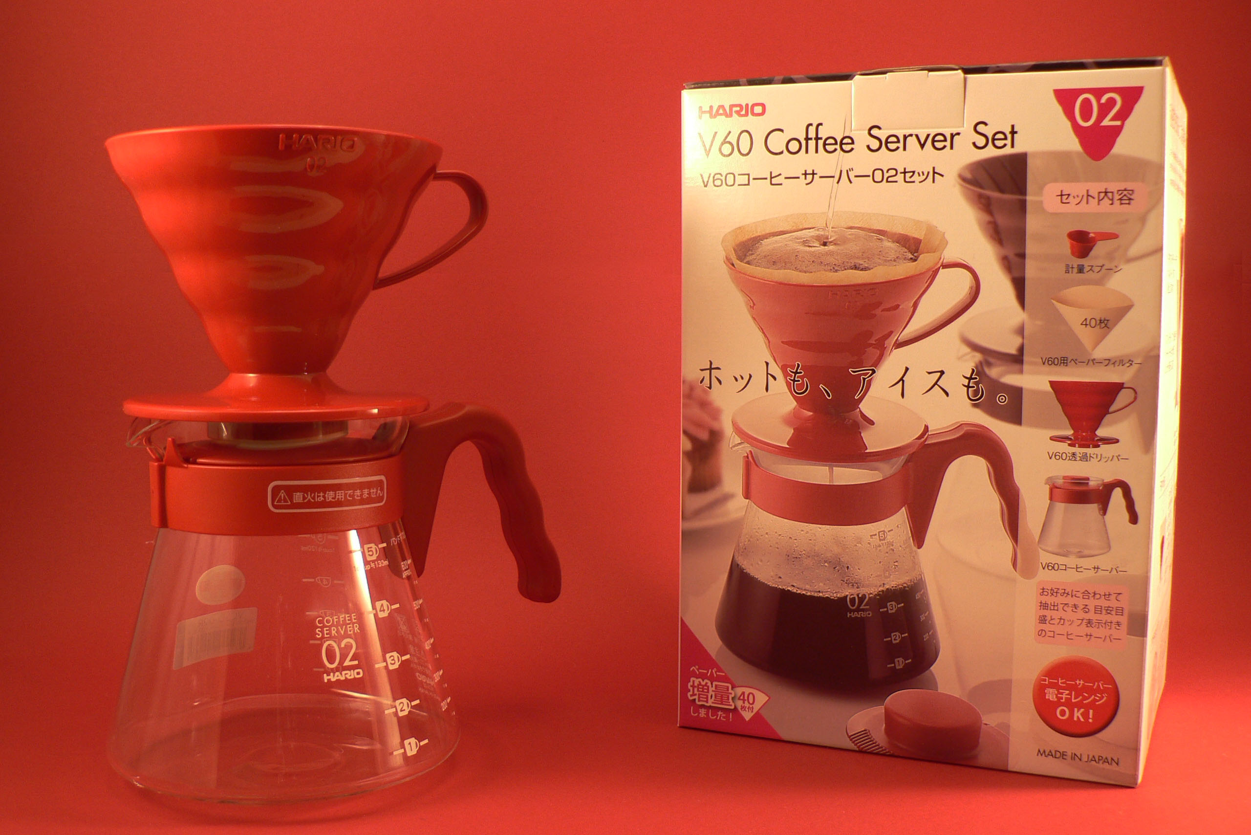 Hario Set V60 Pour over Kit - červený